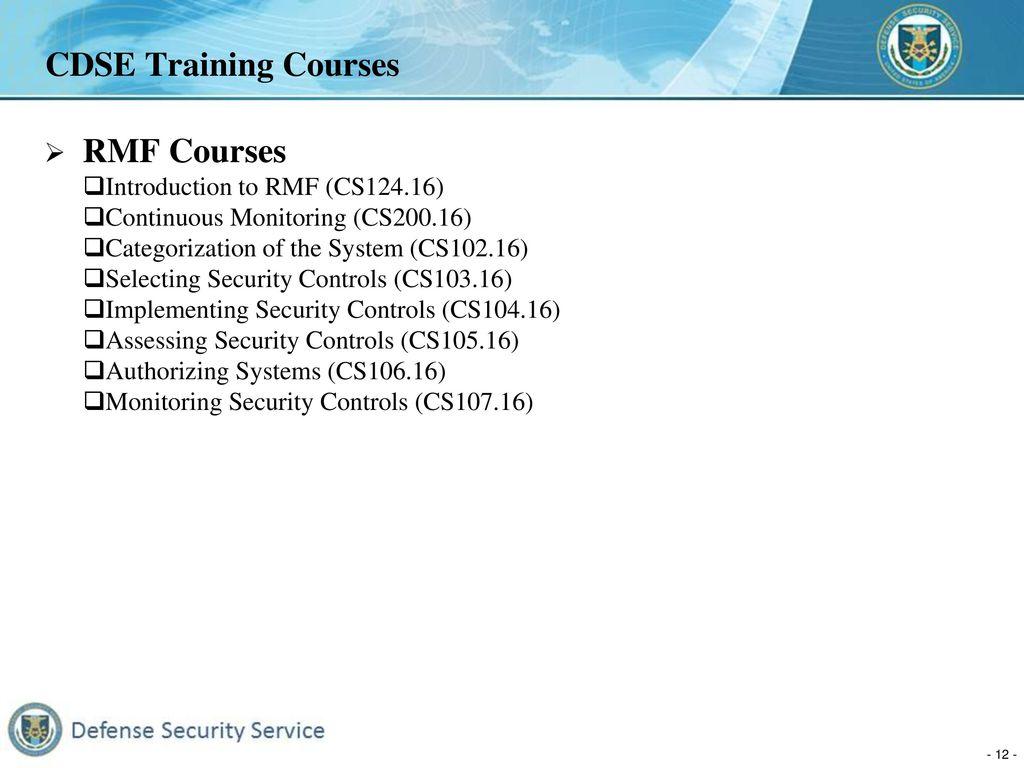 Defense Security Service Risk Management Framework (RMF