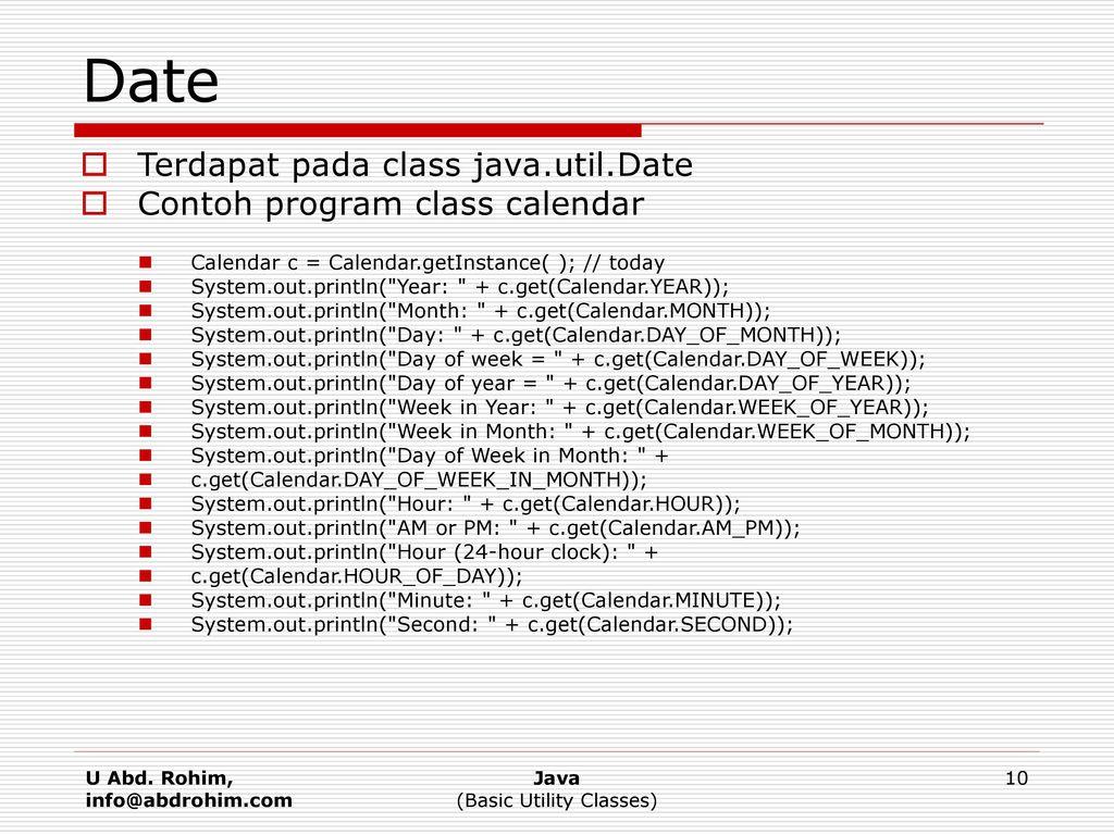 Basic Utility Classes U Abd  Rohim, MT mailto: - ppt download