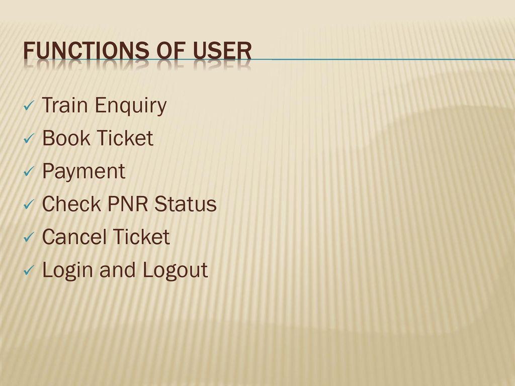 Online Railway Reservation System - ppt download