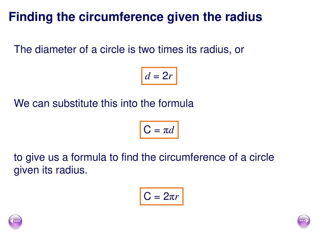 Finding the circumference given the radius