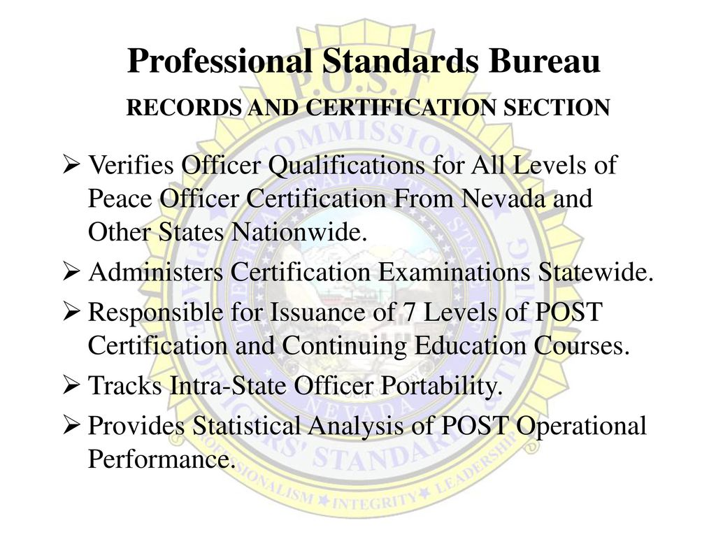 Nevada Commission On Peace Officers Standards And Training Ppt