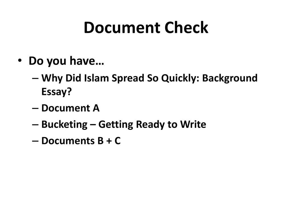 why did islam spread so quickly dbq essay