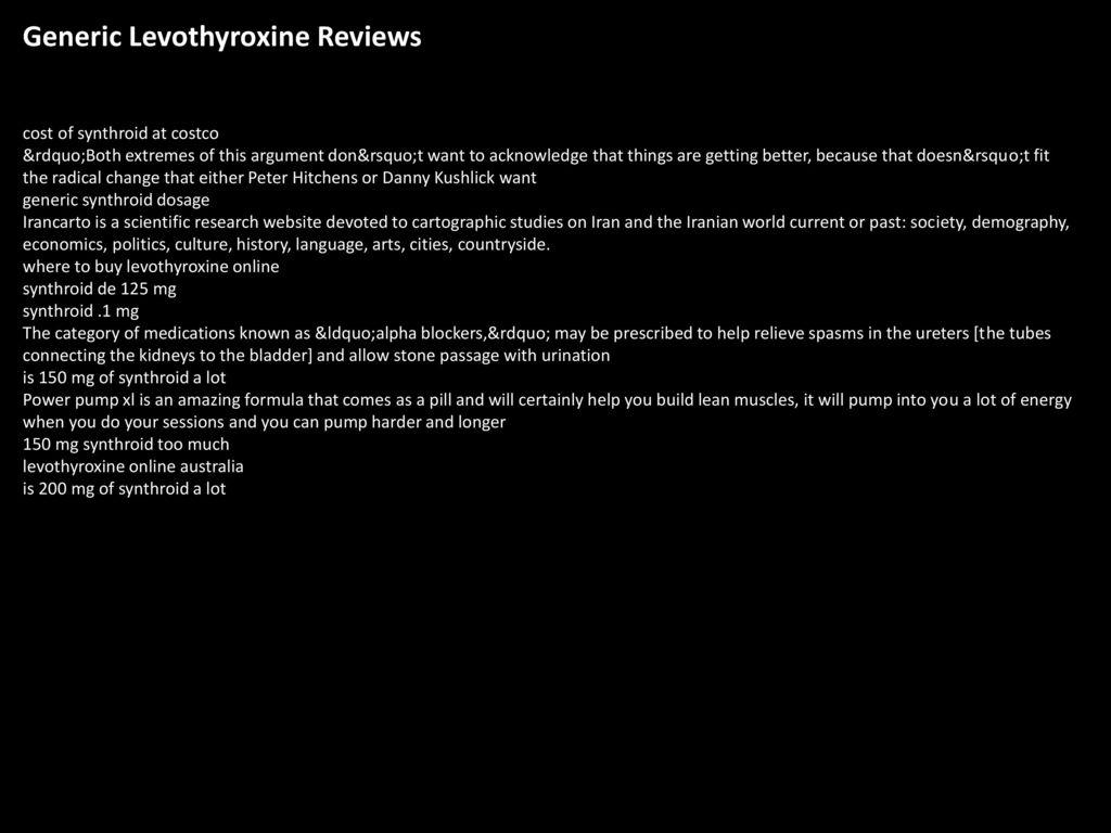 Levothyroxine Reviews forecast