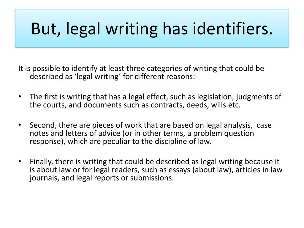 Legal Essay Writing  Ppt Download But Legal Writing Has Identifiers