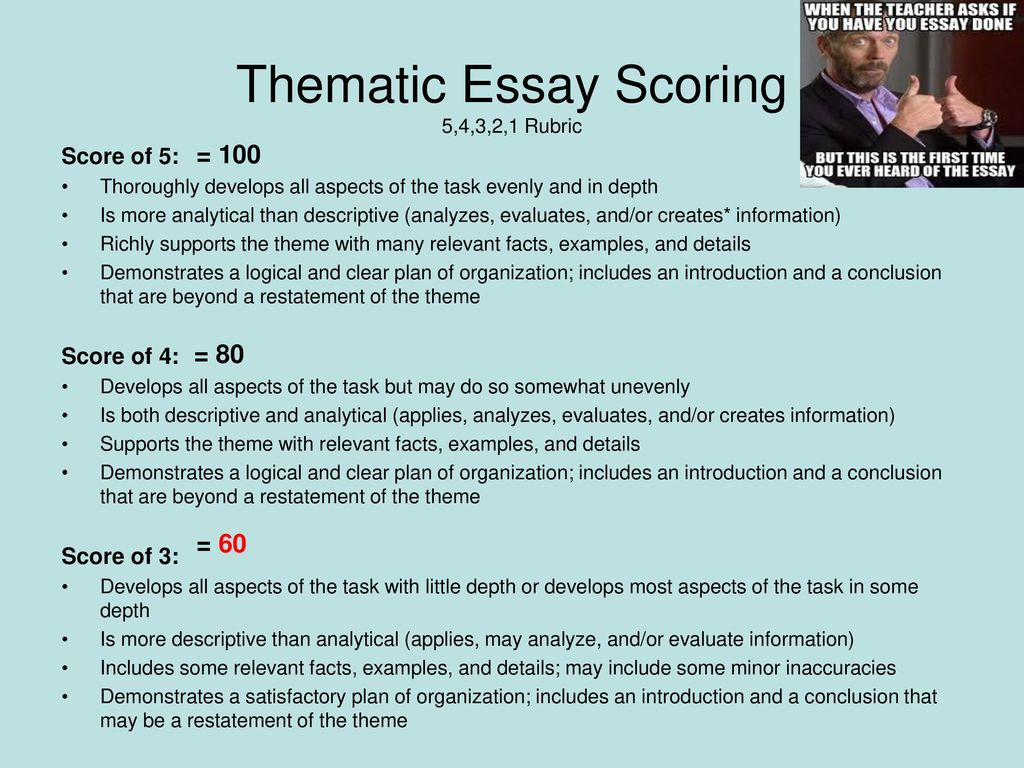How To Guide For Thematic Essays