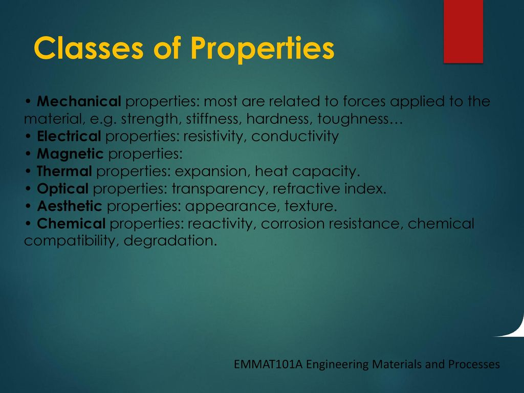 Engineering Materials and Processes Lecture 2 – Material Properties ...