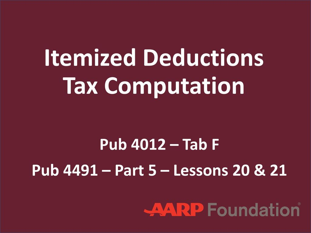 Itemized Deductions Tax Computation - ppt download