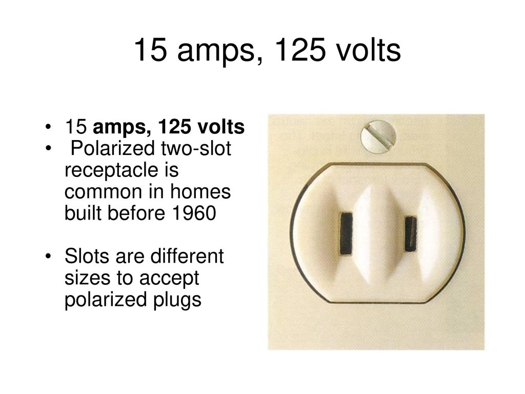 Electrical Receptacles Ppt Download Polarized Plug Wiring Diagram 15 Amps 125 Volts Two Slot Receptacle