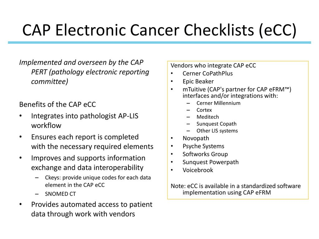Complimentary Webinar: Electronic CAP Checklist (eCC) for Cancer Registrars