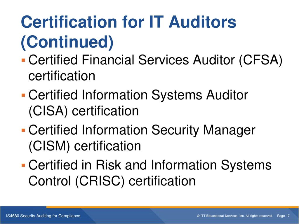 Is4680 Security Auditing For Compliance Ppt Download