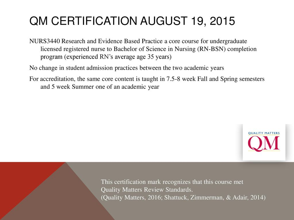 Comparing Rn Bsn Research Course Changes Prepost Qm Certification
