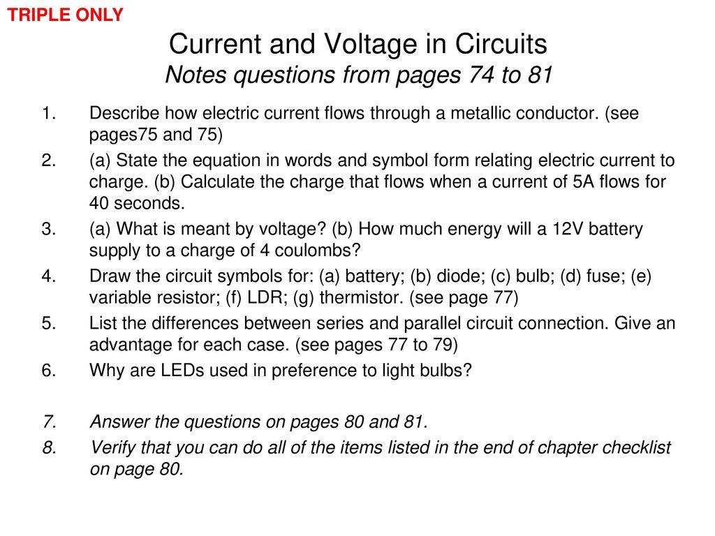 Edexcel Igcse Physics Pages 74 To Ppt Download Related Image With Current Electricity Notes 31 And Voltage In Circuits