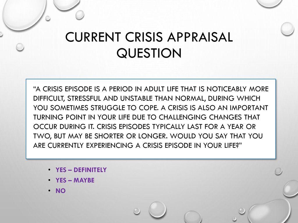 predictable crises of adulthood