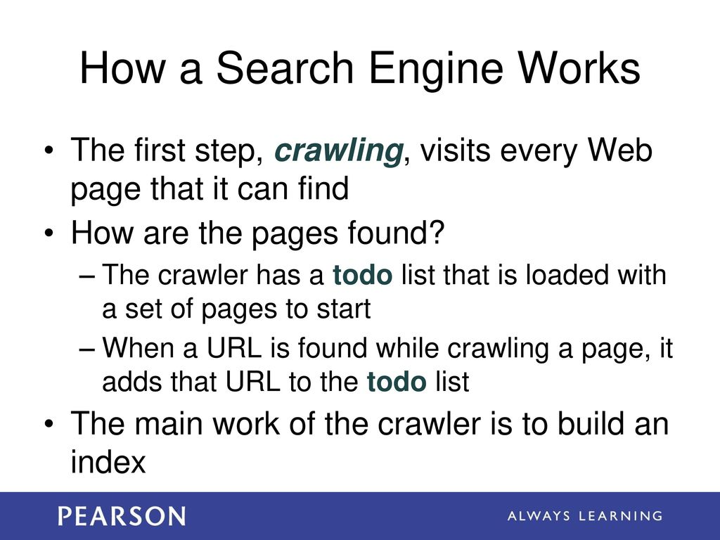 Learning Objectives Explain how a Web search engine works