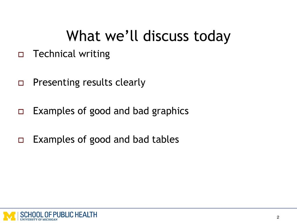 EHS 655 Lecture 22: Technical writing, data presentation