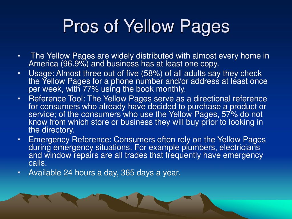 Yellow Pages Training Building a better understanding of the Yellow