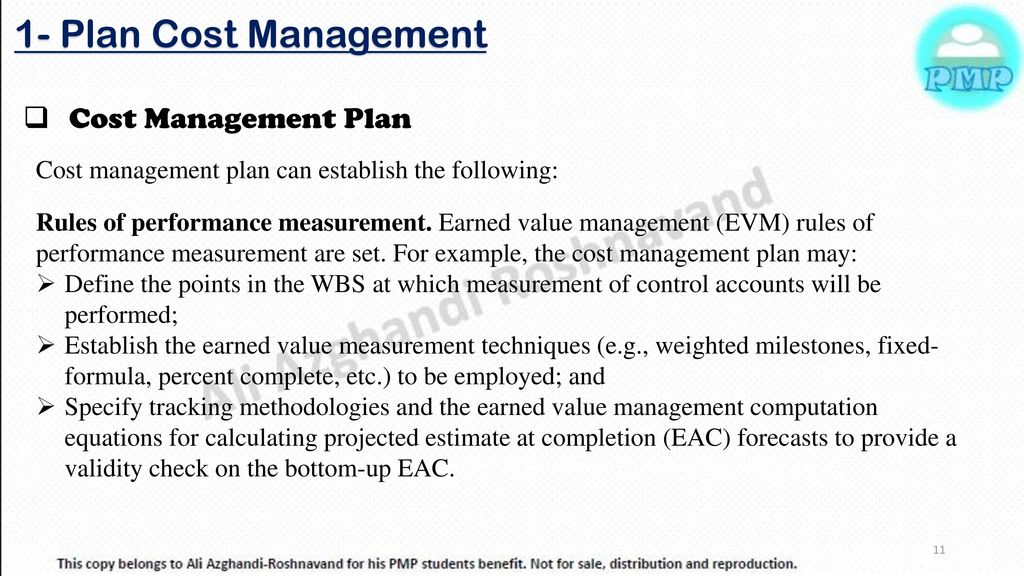 1 Plan Cost Management