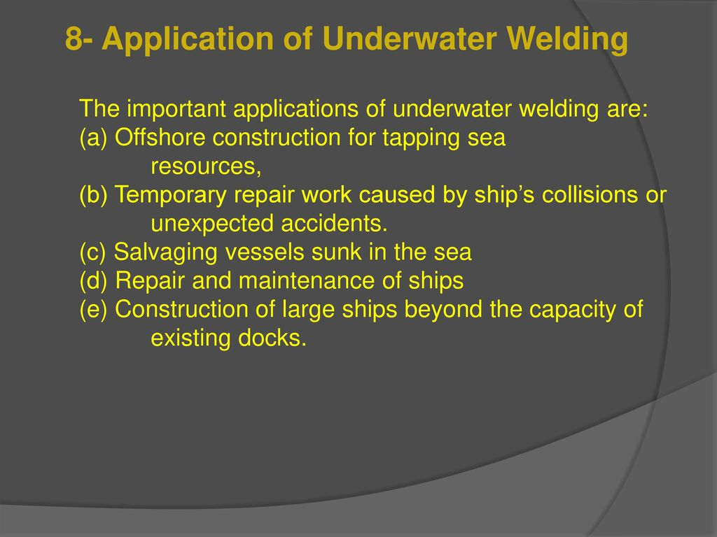 Seminar Of Underwater Welding Inspection Ppt Download Hyperbaric Diagram 8 Application
