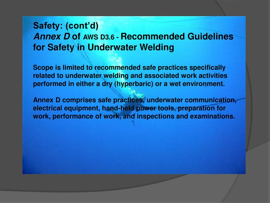 Seminar Of Underwater Welding Inspection Ppt Download Diagram 35 Safety