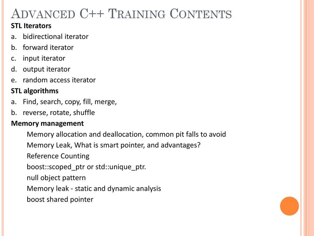 Advanced C++ Training  - ppt download