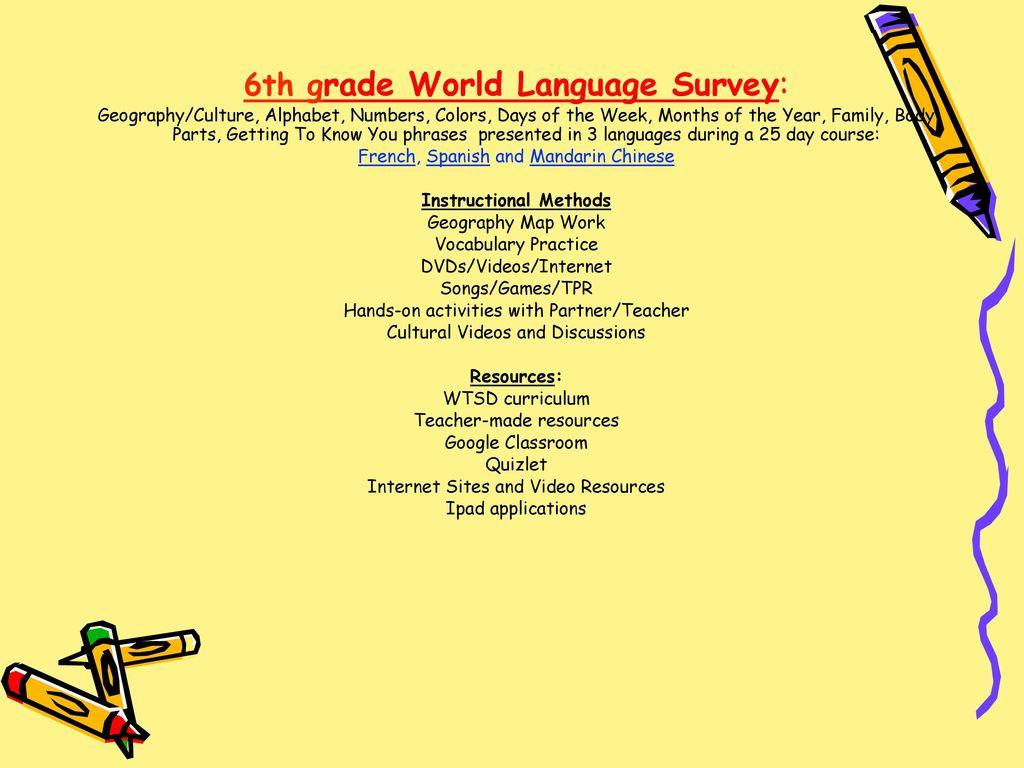 6th - World Language Survey 7th - Spanish 1A 8th - Spanish