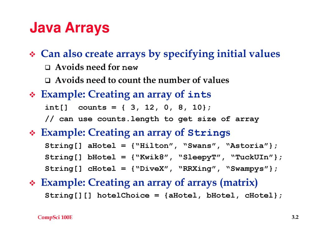 Java Arrays Fixed size, once created - ppt download
