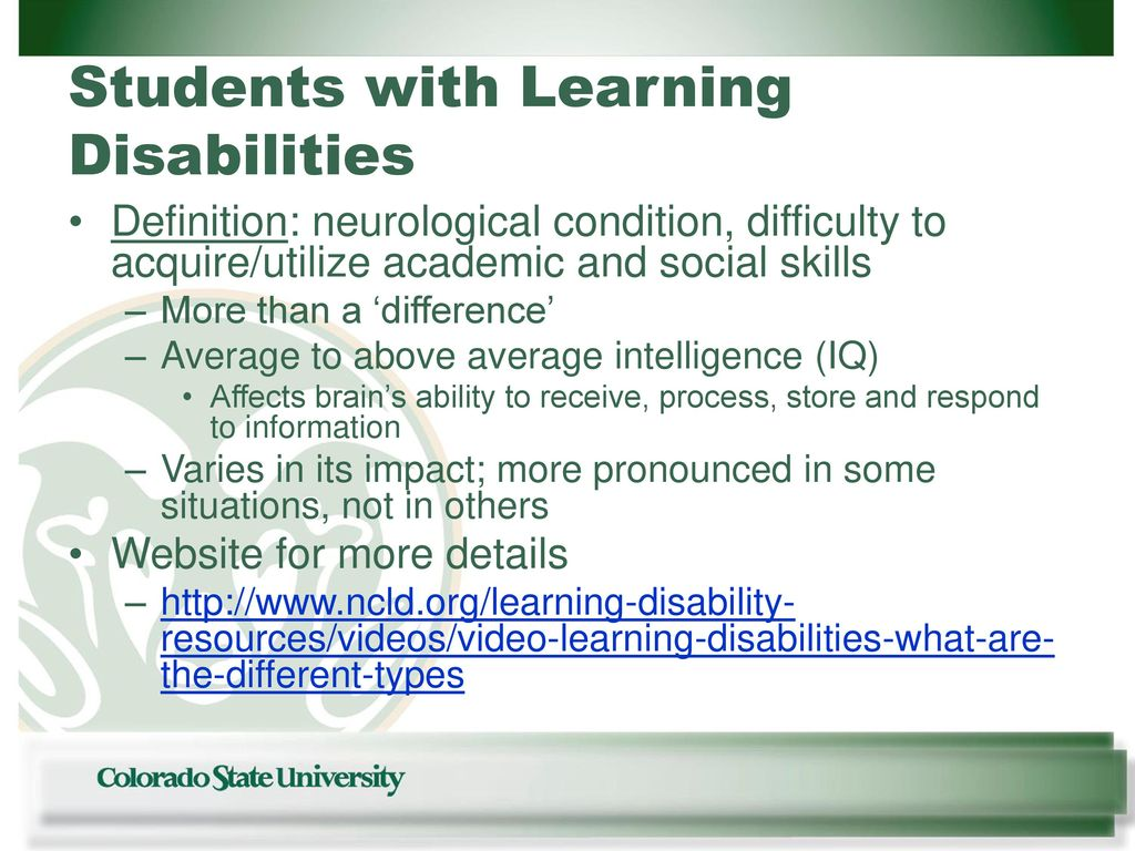 students with learning disabilities - ppt download