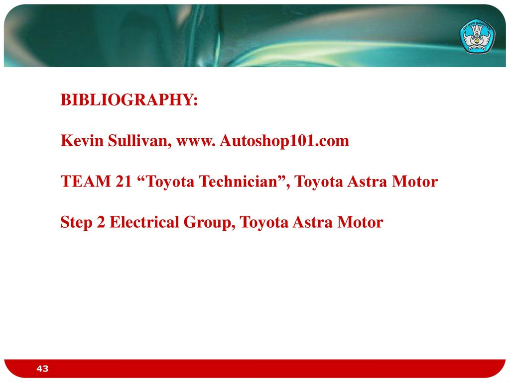 Automotive Charging Systems Ppt Download Autoshop101 Wiring Diagrams Bibliography Kevin Sullivan Autoshop101com Team 21 Toyota Technician