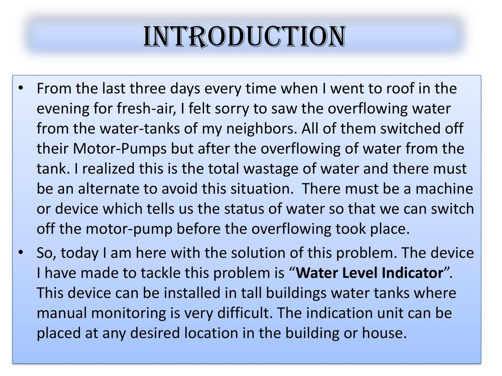 WATER LEVEL controller using ppt download