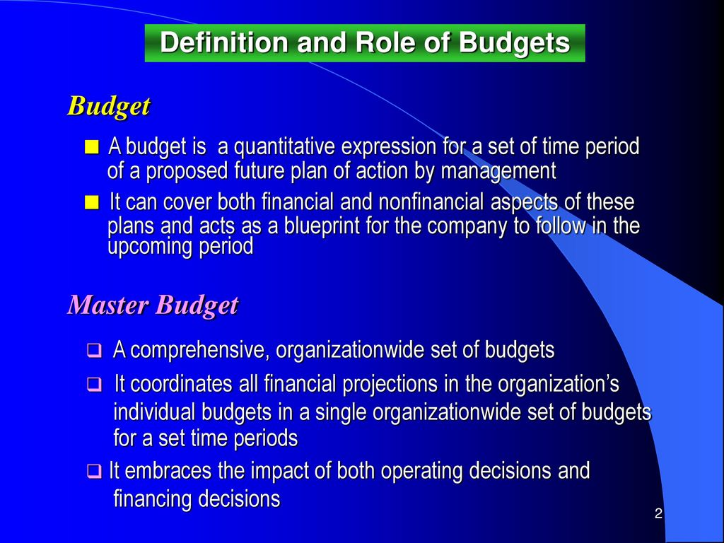 the role and significance of the master budget Budgets play a key role in helping companies track their finances, analyze their expenses, and identify ways to maximize their profits a static budget is.