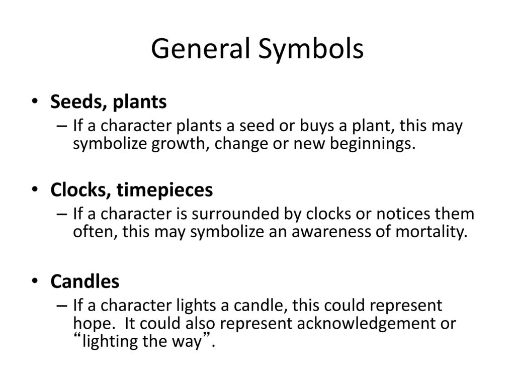 General Symbols Seeds Plants Clocks Timepieces Candles