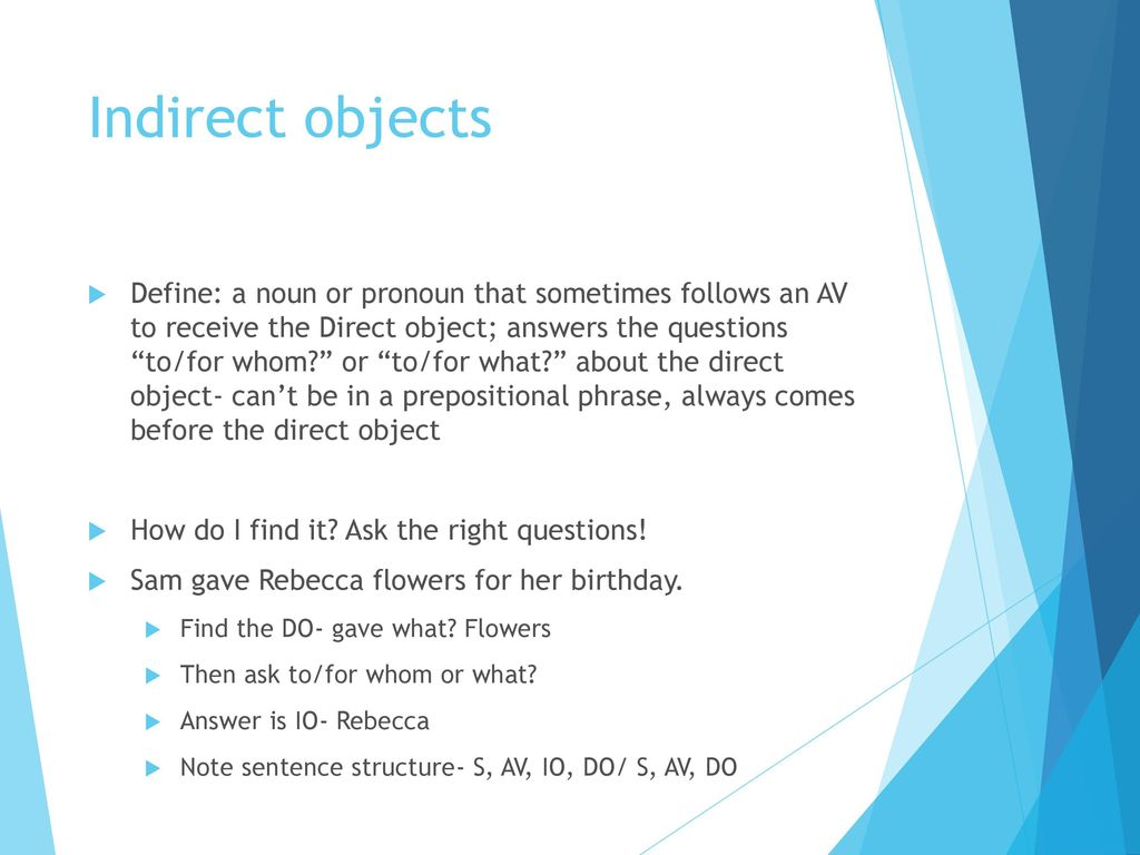 define indirect object