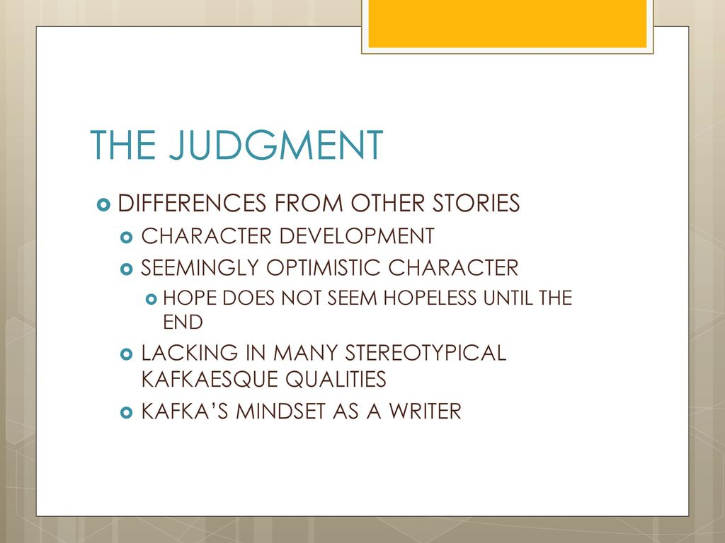 the judgement kafka