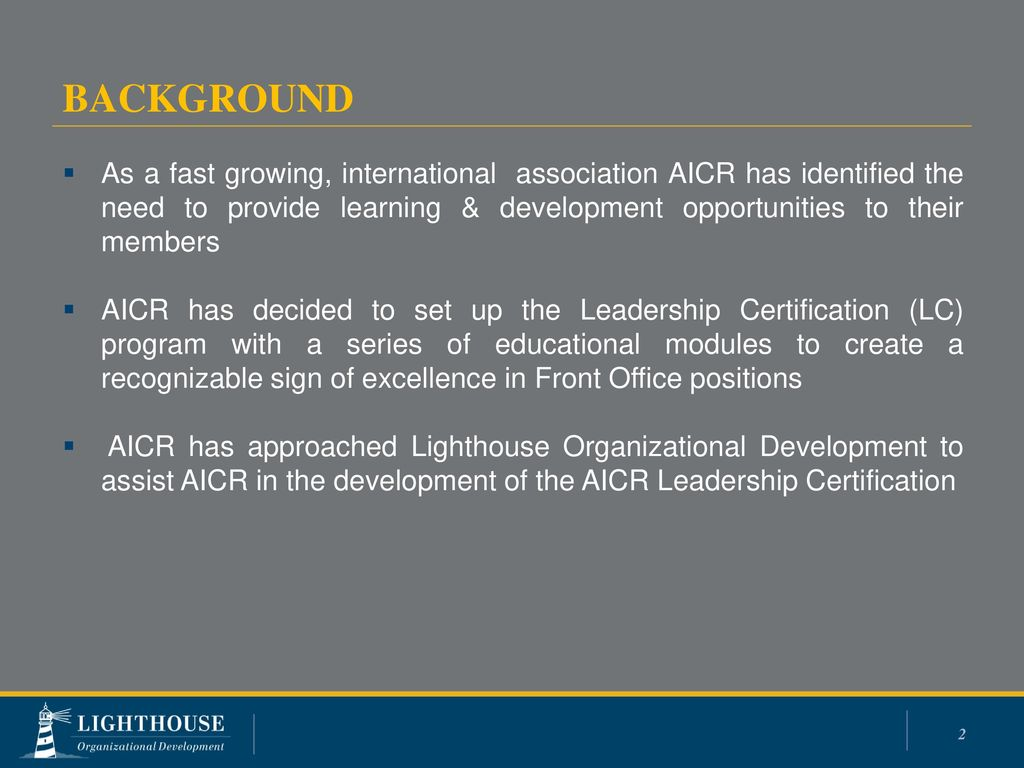 Aicr Leadership Certification Ppt Download