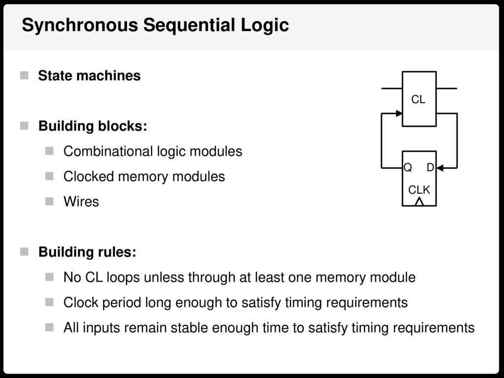 Digital Logic Design Alex Bronstein Ppt Download Building A Synchronous Clock Sequential