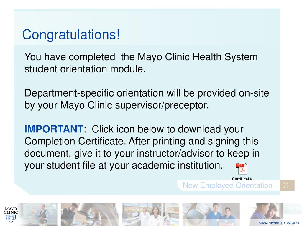 Welcome to Mayo Clinic Facilitator welcomes the new employees and