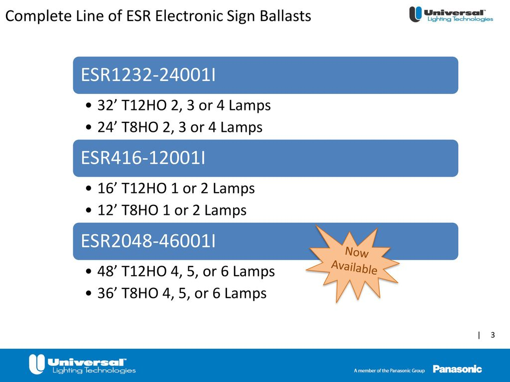 Esr Electronic Sign Ballasts Ppt Download T12ho Ballast Wiring Diagram Complete Line Of