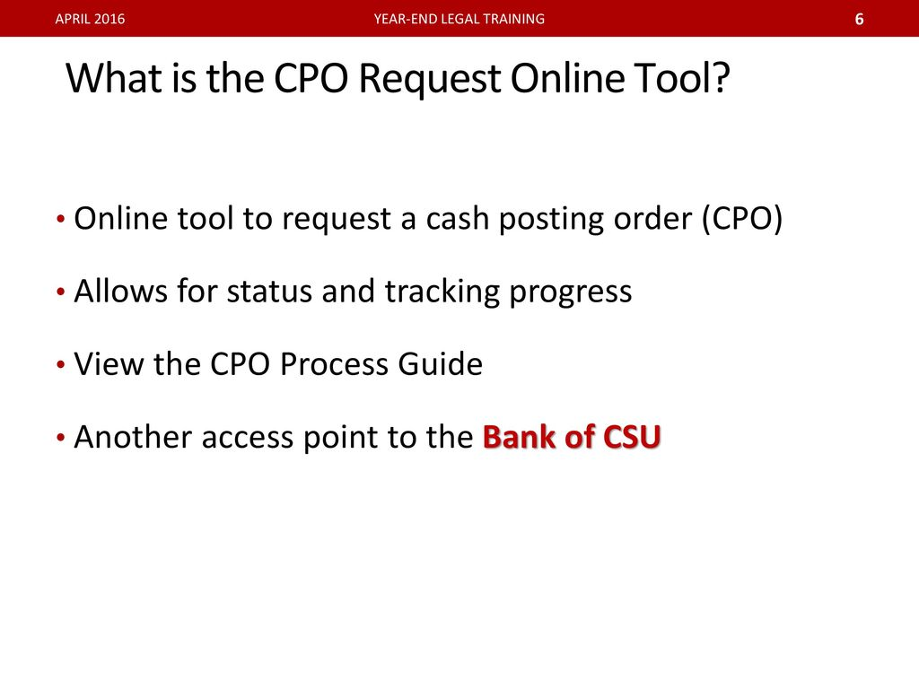 bank of csu and cpo processing ppt download