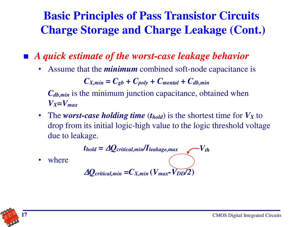 Cmos Digital Integrated Circuits Ppt Download Transistor Example Of Designing Suppose Basic Principles Pass Charge Storage And Leakage Cont