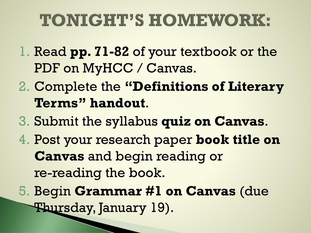 Tonights Homework Read Pp Of Your Textbook Or The Pdf On Myhcc