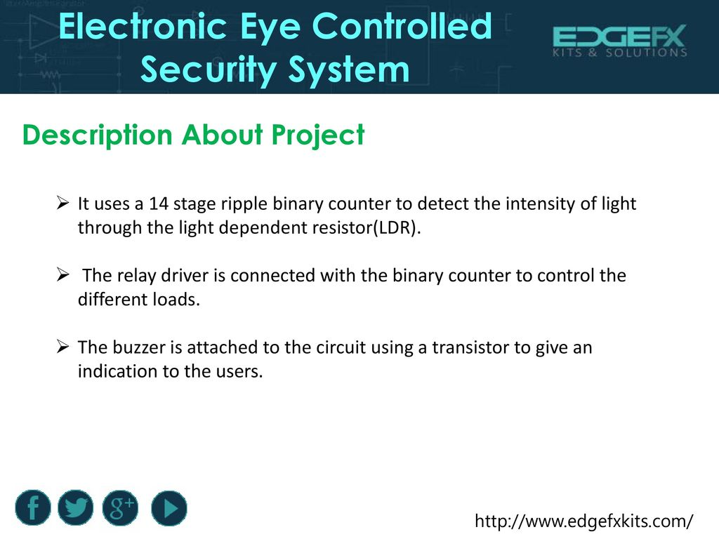 Electronic Eye Controlled Security System - ppt download