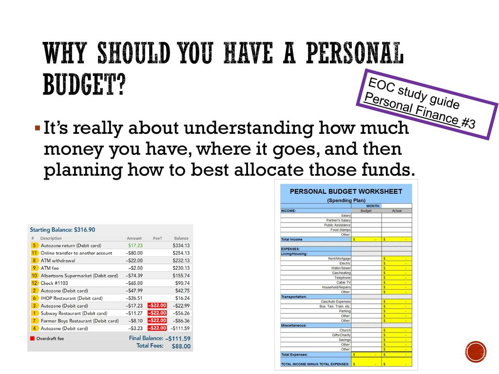 Why should you have a personal budget