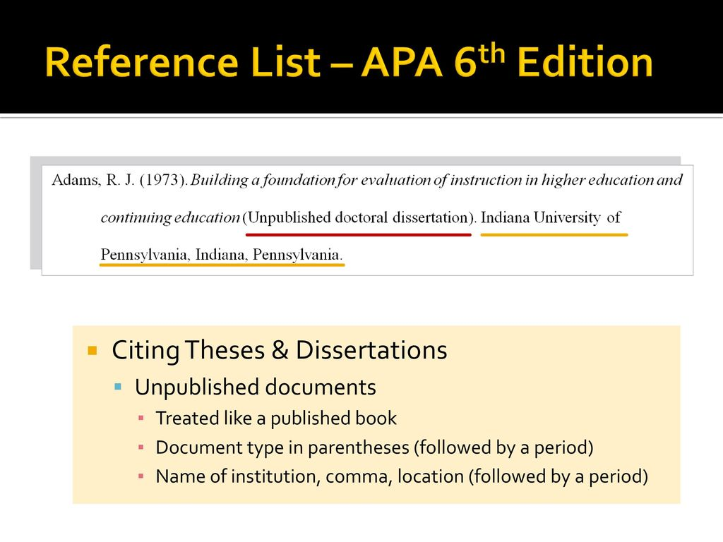 unpublished dissertation Include unpublished dissertations in your overall reference list, organizing them alphabetically by the last name of the first author listed on the title page of the dissertation 2 provide the year the dissertation was written.