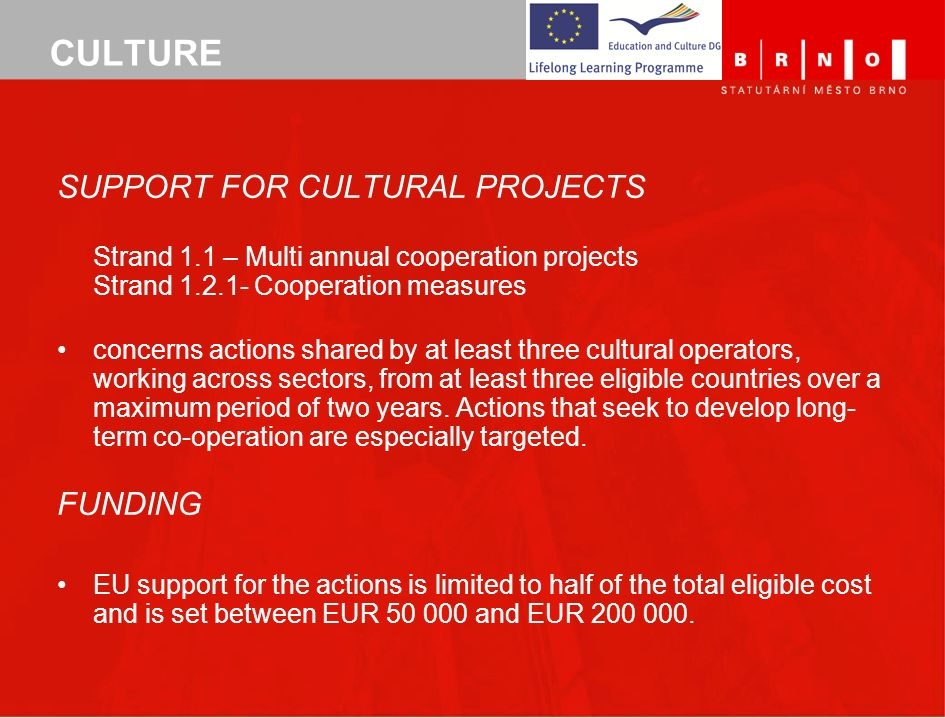 CULTURE SUPPORT FOR CULTURAL PROJECTS FUNDING