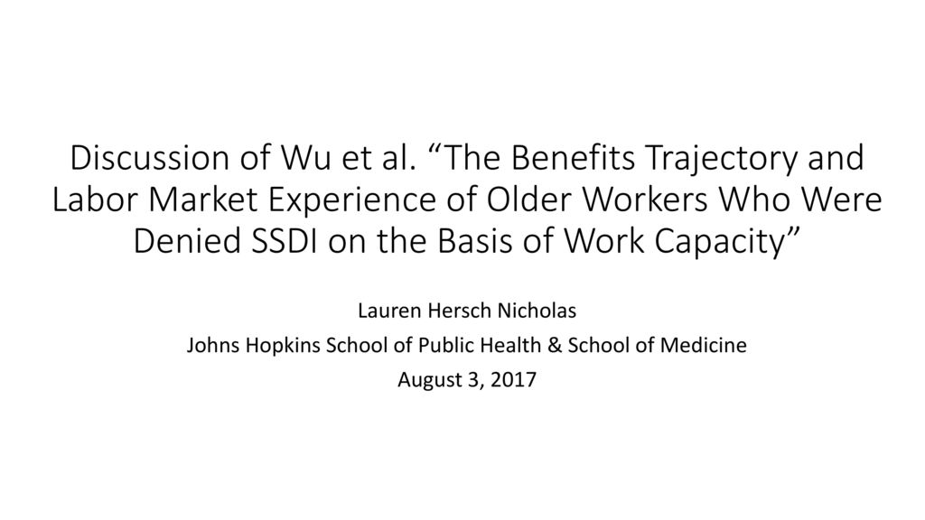 """Discussion of Wu et al  """"The Benefits Trajectory and Labor"""