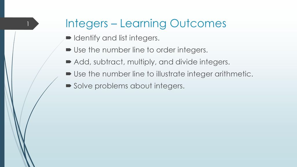 Integers – Learning Outcomes - ppt download