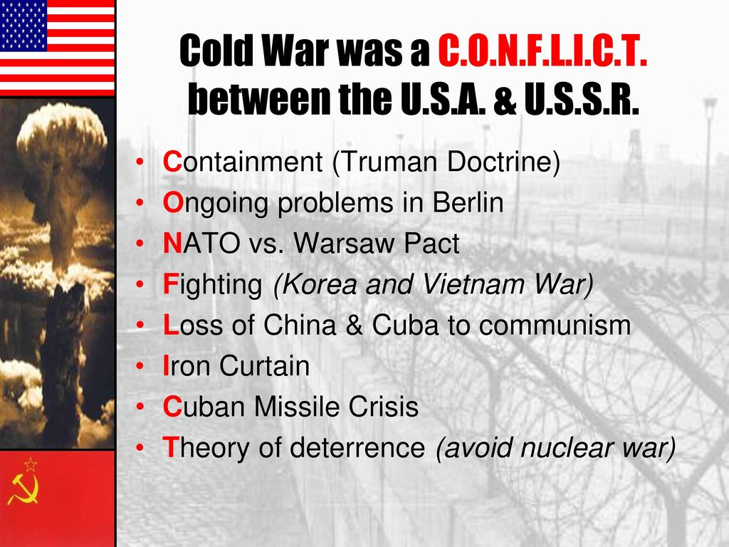 the cold war interviews Cold war interview assignment objective: students will understand what it was like to live through the cold war by interviewing someone who did and writing an essay on them instructions: find someone to interview who was a child or teenager in the 1950s and 1960s.