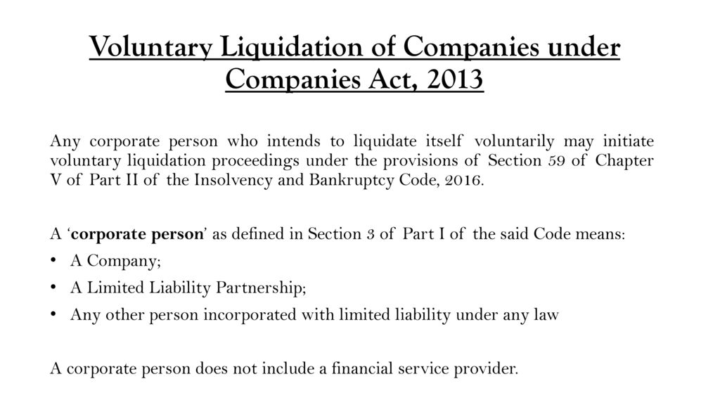 voluntary liquidation of corporate persons