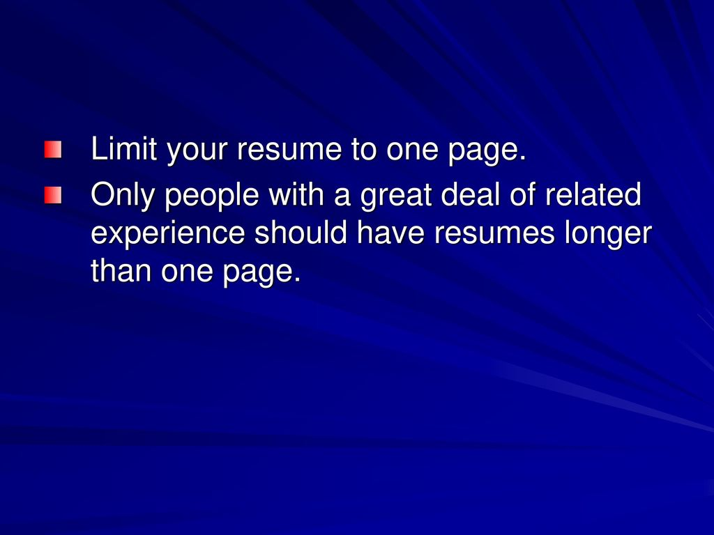 what is a resume a resume is a one page summary of your skills