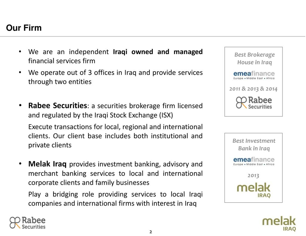 Best Brokerage House In Iraq Investment Bank